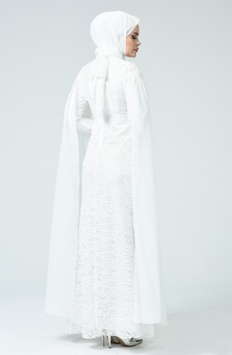 Lace Overlay Evening Dress White 5231-05
