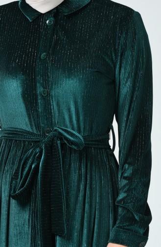 Simli Boydan Düğmeli Elbise 1046-01 Zümrüt Yeşili