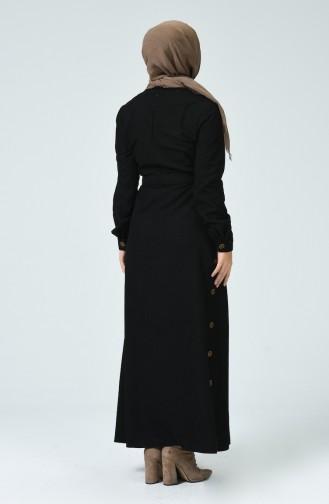 Düğme Detaylı Kuşaklı Elbise 9068-02 Siyah