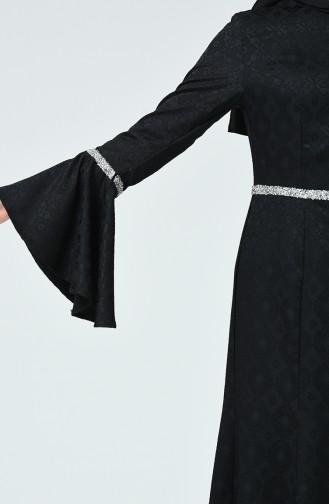 Taşlı Abiye Elbise 60081-04 Siyah