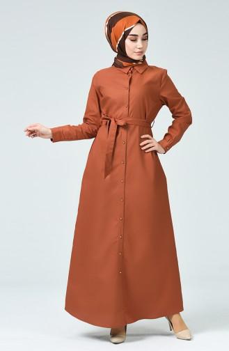 Geknöpftes Kleid mit Band  60080-04 Tabak 60080-04