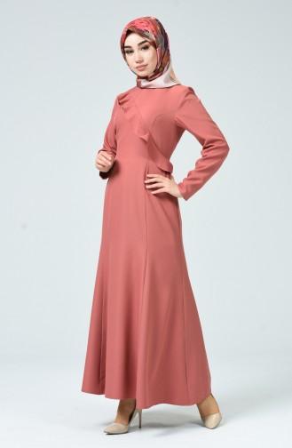Fırfırlı Elbise 60086-07 Gül Kurusu