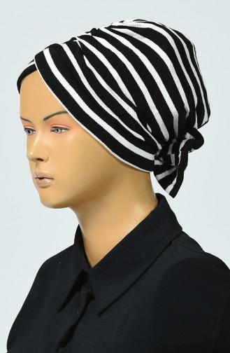 Gestreifter Bonnet 1057-01 Schwarz 1057-01