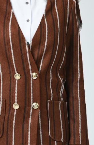 Düğmeli Ceket 6480A-01 Kahverengi
