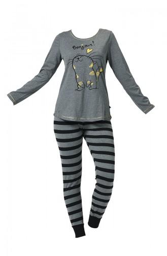 Ensemble Pyjama à Manches Longues Pour Femme 904070-A Anthracite 904070-A
