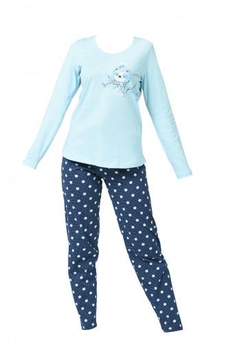 Ensemble Pyjama à Manches Longues Pour Femme 905114-B Bleu 905114-B