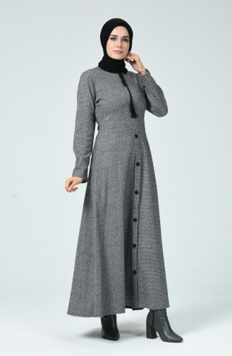 Knopf Detailliertes Kleid  81750-01 Grau 81750-01