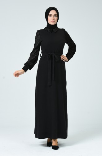 Patchwork Kleid mit Band 81759-01 Schwarz 81759-01