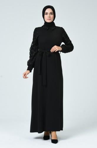 Kol Detaylı Elbise 81760-01 Siyah