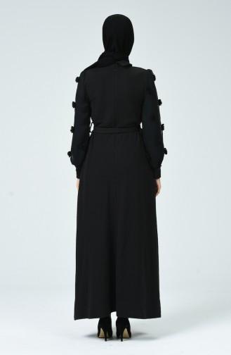 Kol Detaylı Kuşaklı Elbise 81761-01 Siyah