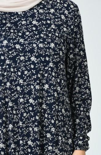 Çiçek Desenli Elbise 0041-01 Lacivert 0041-01