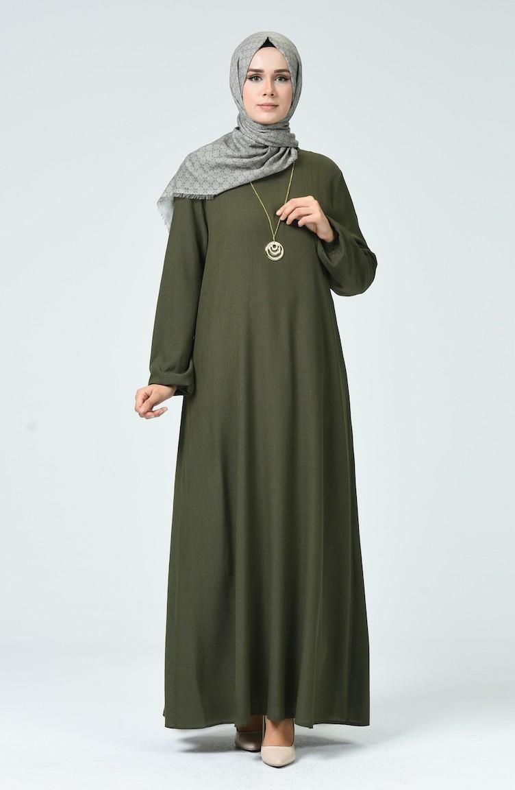 Kleid aus Şile-Stoff mit Halskette 17-17 Khaki Grün 17-17