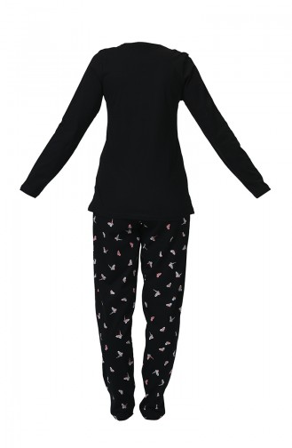 Ensemble Pyjama à Manches Longues Pour Femme 905111-A Noir 905111-A
