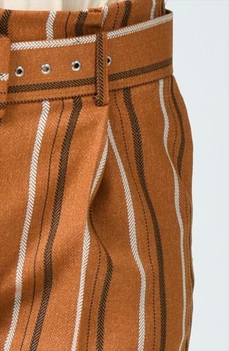 Pantalon Taille Haute avec Ceinture 1739A-01 Moutarde 1739A-01