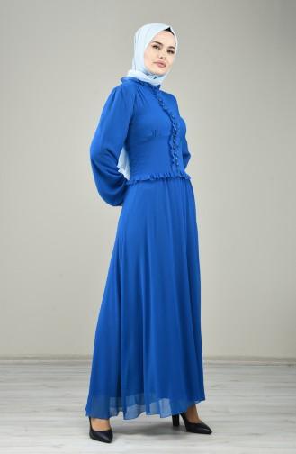 Front Button Evening Dress Blue 8107-02