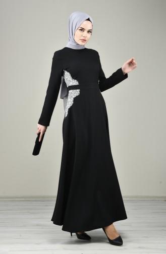 Dantel Detaylı Abiye Elbise 8041-01 Siyah