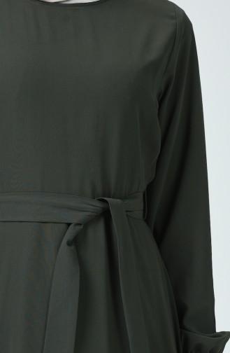 Robe Mousseline à Ceinture 1712-04 Khaki 1712-04