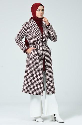 معطف طويل أحمر كلاريت 6021-03