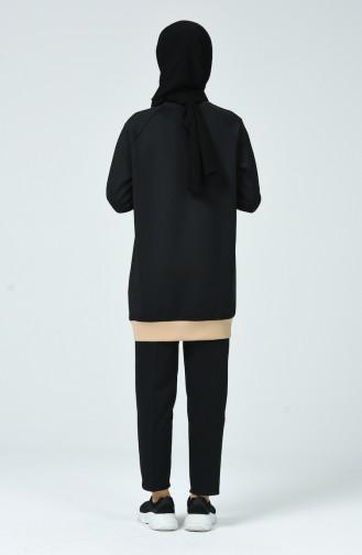 Dalgıç Kumaş Tunik Pantolon İkili Takım 0798-02 Siyah Bej