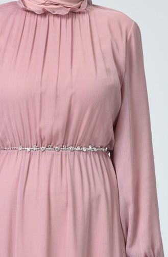 Gerafftes Chiffon Kleid  5063-01 Pink 5063-01