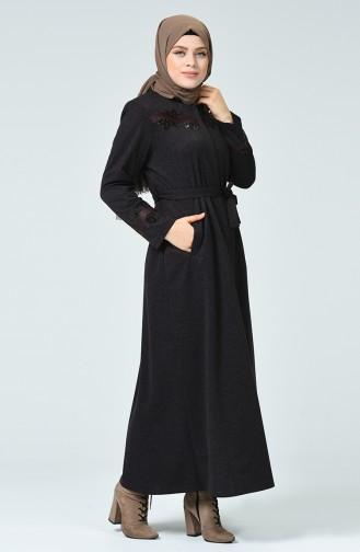 Abaya à Fermeture Avec Ceinture Grande Taille 8215-03 Pourpre 8215-03