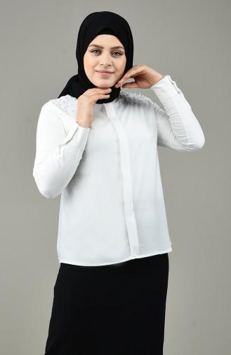 Chemise Grande Taille Avec Perles 1960-01 Blanc 1960-01