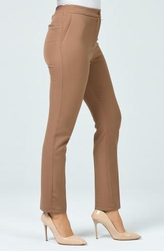 Pantalon Taille Haute Avec Poche 1738-02 Café au Lait 1738-02