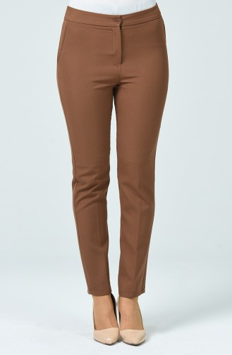 Pantalon Taille Haute Avec Poche 1738-03 Brun 1738-03