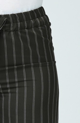 Çizgili Bol Paça Pantolon 10200-05 Koyu Yeşil