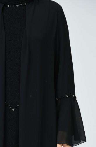 Büyük Beden Simli Abiye Elbise 6293-01 Siyah