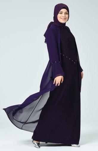Robe de Soirée à Paillettes Grande Taille 6293-02 Pourpre 6293-02