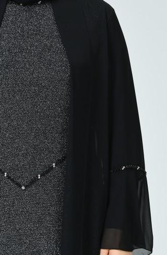 Robe de Soirée à Paillettes Grande Taille 6293-03 Noir Argent 6293-03