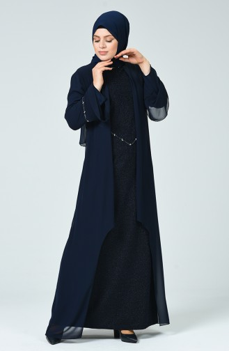 Robe de Soirée à Paillettes Grande Taille  6293-04 Bleu Marine 6293-04