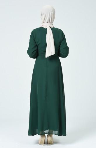 Kuşaklı Şifon Elbise 1712-05 Zümrüt Yeşil