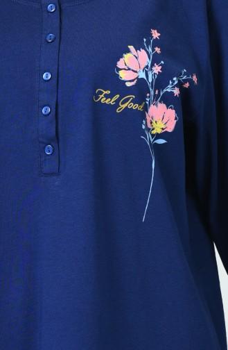 Ensemble Pyjama à Manches Longues Pour Femme Grande Taille 905103-A Bleu Marine 905103-A