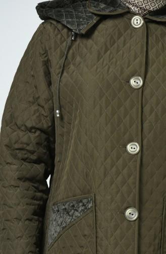 Manteaux Matelassé a Motifs Grande Taille 0824-04 Khaki 0824-04