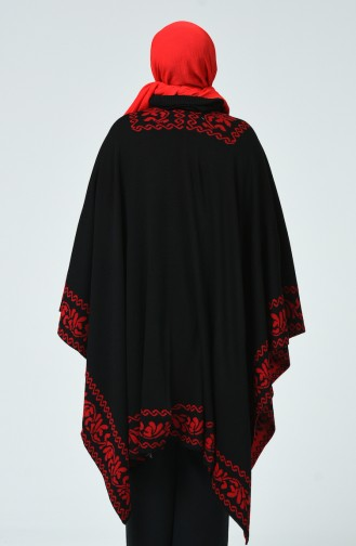 Tricot Patterned Poncho Red Black 1010E-03