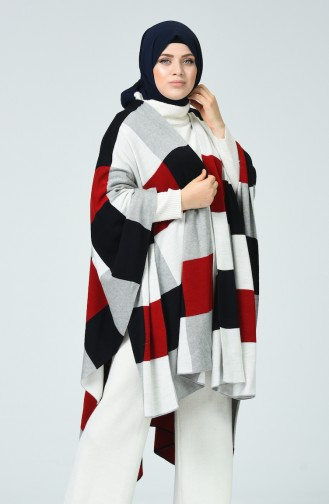 Tricot Patterned Poncho Red Gray 1010F-02