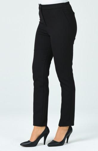 Pantalon Taille Haute Avec Poche 1738-01 Noir 1738-01