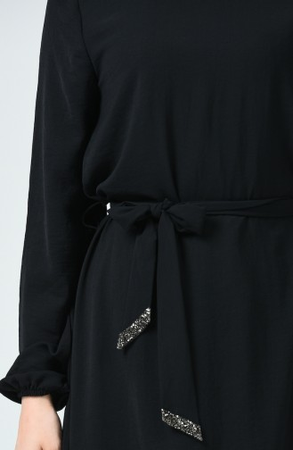 Kolu Lastikli Kuşaklı Elbise 0048-01 Siyah