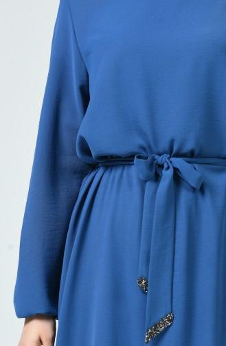 Kolu Lastikli Kuşaklı Elbise 0048-02 İndigo