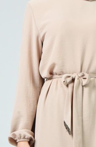 Kolu Lastikli Kuşaklı Elbise 0048-03 Bej