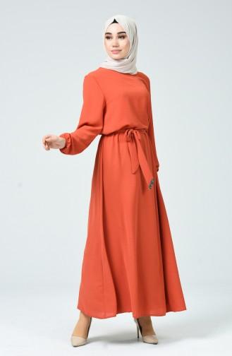 Kolu Lastikli Kuşaklı Elbise 0048-04 Kiremit