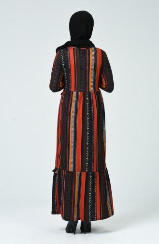 فستان منقوش مزين بشرابة قرميدي وأسود 1438-01