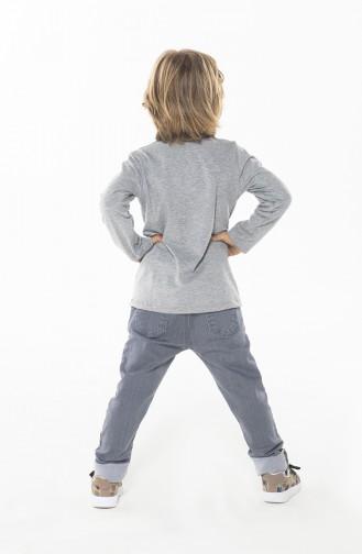 Erkek Çocuk Pantolon Tshirt Takım ZN-SS-080 Gri