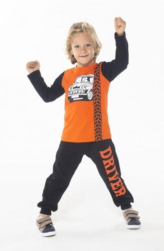 Erkek Çocuk Pantolon Tshirt Takım ZN-SS-084 Siyah Turuncu