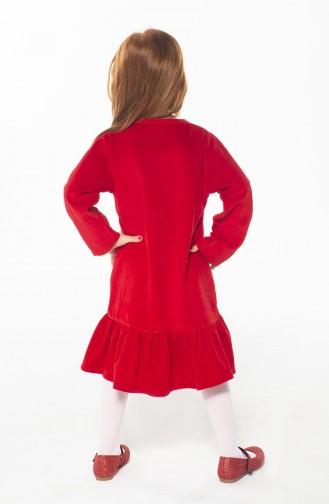 Robe Velours Enfant ZN-SS-085 Rouge 085