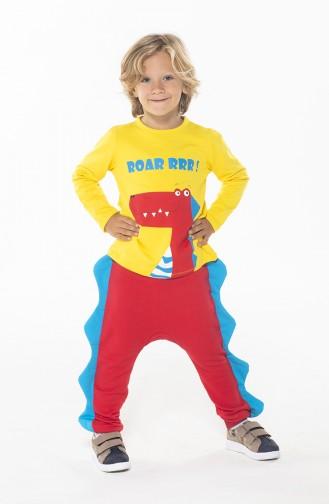 Erkek Çocuk Pantolon Tshirt Takım ZN-SS-103 Sarı Kırmızı