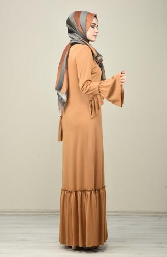Mustard İslamitische Jurk 8086-01