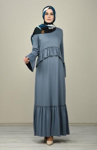 فستان مطوي نيلي 8086-06